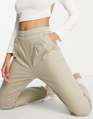 Светло-бежевые брюки-галифе со вставками по бокам -Коричневый цвет ASOS DESIGN