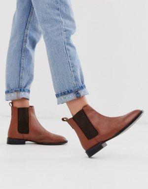 Светло-коричневые кожаные ботинки челси April-Коричневый ASOS DESIGN
