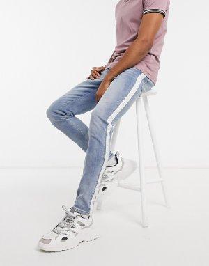 Голубе джинсы скинни с отделкой кантом -Синий Criminal Damage