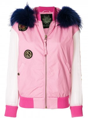 Куртка-бомбер с нашивками Mr & Mrs Italy. Цвет: розовый