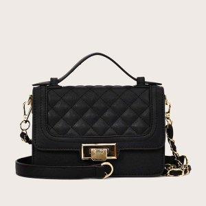 Стеганая сумка-портфель с клапаном SHEIN. Цвет: чёрный