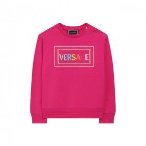 Хлопковый свитшот Versace. Цвет: розовый