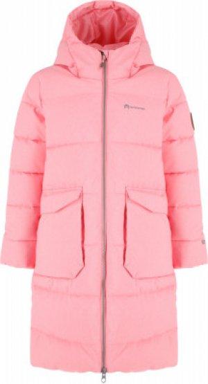 Пальто утепленное для девочек , размер 140 Outventure. Цвет: розовый