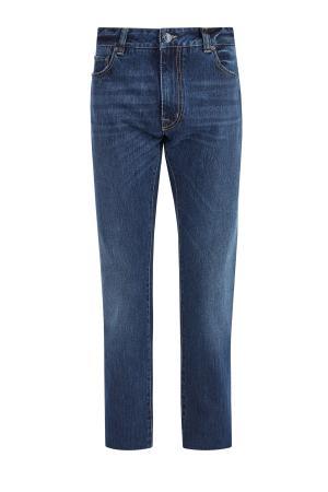 Джинсы прямого кроя с потертостями и фирменной вышивкой на карманах ETRO. Цвет: синий