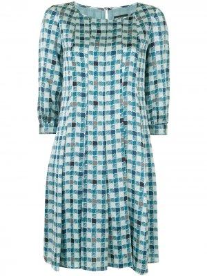Расклешенное платье в клетку Emporio Armani. Цвет: зеленый