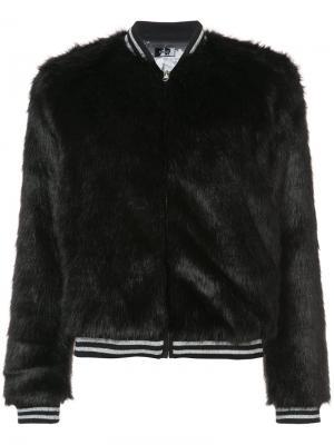 Куртка-бомбер из искусственного меха Mother. Цвет: чёрный