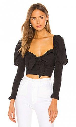 Блузка tie front Bardot. Цвет: черный
