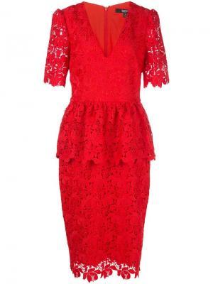 Приталенное кружевное платье Badgley Mischka