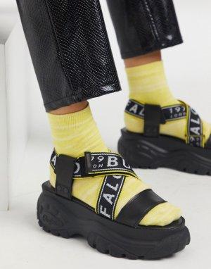 Черные кожаные сандалии на толстой подошве -Черный цвет Buffalo