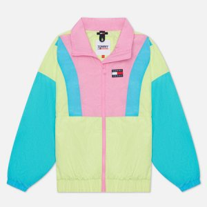 Женская куртка ветровка Colour-Blocked Tommy Badge Windbreaker Jeans. Цвет: зелёный