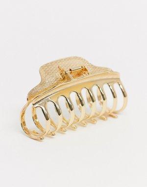 Золотистая заколка-краб для волос -Золотистый ASOS DESIGN