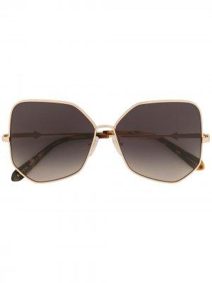 Массивные солнцезащитные очки геометричной формы Karen Walker. Цвет: золотистый