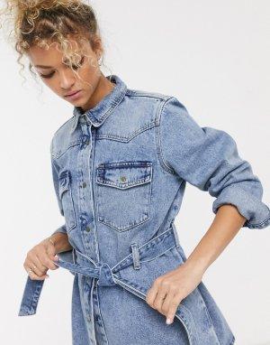 Синяя джинсовая куртка с поясом -Синий Pieces