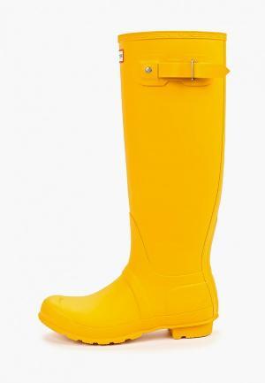 Резиновые сапоги Hunter ORIGINAL TALL. Цвет: желтый