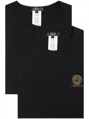Набор футболок с логотипом Medusa Versace. Цвет: черный