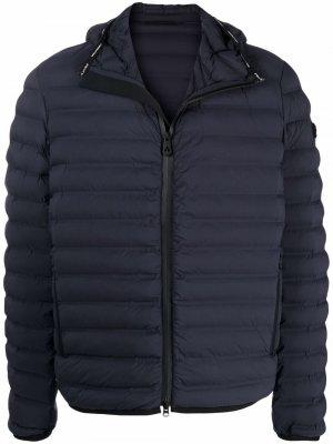 Куртка с капюшоном и нашивкой-логотипом Peuterey. Цвет: синий