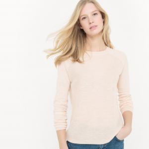 Пуловер с круглым вырезом из хлопка и льна La Redoute Collections. Цвет: темно-синий