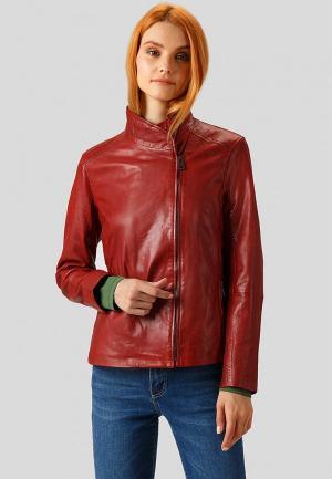 Куртка кожаная Finn Flare. Цвет: красный