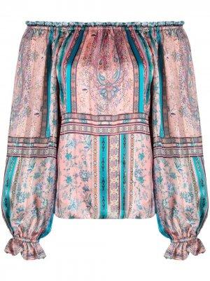 Блузка с открытыми плечами и принтом пейсли Hale Bob. Цвет: розовый