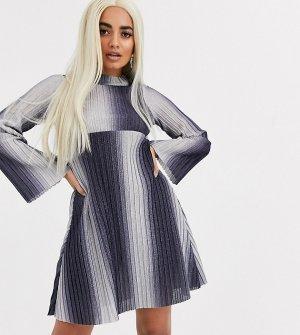 Свободное платье мини в рубчик с длинными рукавами ASOS DESIGN Petite-Синий Petite