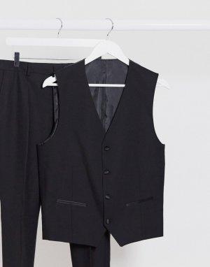 Черный жилет узкого кроя -Черный цвет Selected Homme