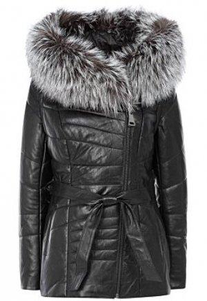 Утепленная кожаная куртка с отделкой мехом чернобурки La Reine Blanche