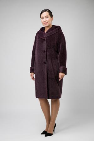 Пальто из альпака для больших размеров Teresa Tardia. Цвет: сливовый