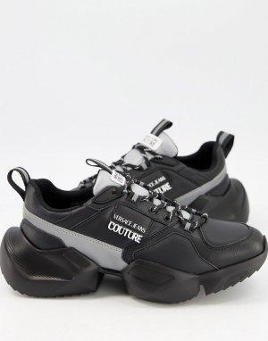 Серо-черные кроссовки на толстой подошве с логотипом -Черный цвет Versace Jeans Couture