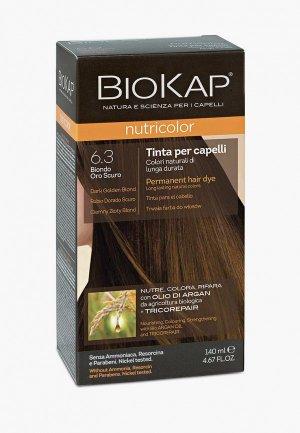 Краска для волос Biokap тёмно-золотистый блондин 6.3, 140 мл. Цвет: коричневый