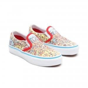 Детские кеды Vans x Wheres Waldo Kids Classic Slip-On. Цвет: голубой
