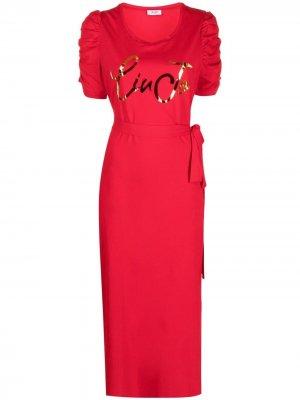 Платье-футболка с завязками и логотипом LIU JO. Цвет: красный