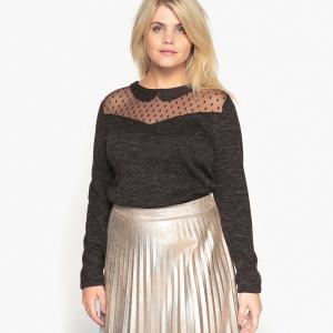 Пуловер с круглым вырезом из тонкого трикотажа CASTALUNA. Цвет: черный меланж