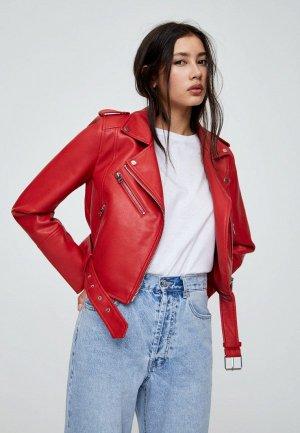 Куртка кожаная Pull&Bear. Цвет: красный