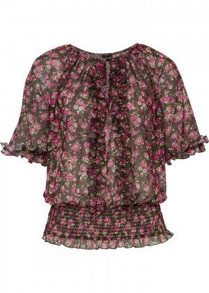 Блузка трикотажная bonprix. Цвет: черный