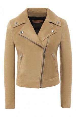Кожаная куртка Yves Salomon. Цвет: хаки