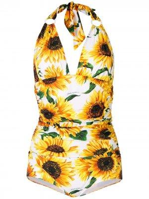 Купальник с глубоким V-образным вырезом Dolce & Gabbana. Цвет: желтый