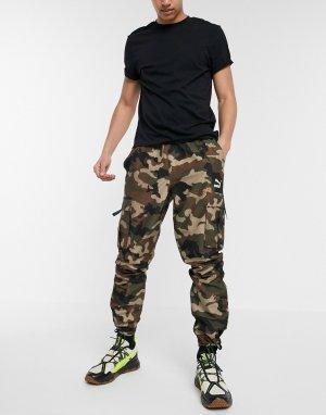 Зеленые брюки-карго с камуфляжным принтом XTG Trail-Зеленый Puma