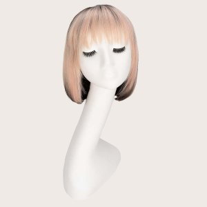 Натуральный короткий парик с челкой SHEIN. Цвет: многоцветный