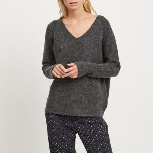 Пуловер Viplace,треугольный вырез VILA. Цвет: темно-серый