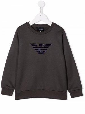 Толстовка с тисненым логотипом Emporio Armani Kids. Цвет: серый