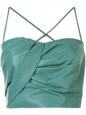 Укороченный топ с вырезом в форме сердца Michelle Mason. Цвет: зеленый