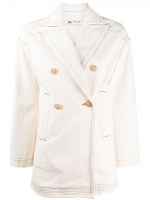 Двубортный пиджак из денима Ports 1961. Цвет: нейтральные цвета