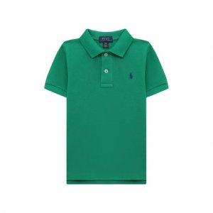 Хлопковое поло Polo Ralph Lauren. Цвет: зелёный