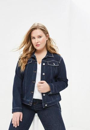Куртка джинсовая Ashley Graham x Marina Rinaldi CANGURO. Цвет: синий