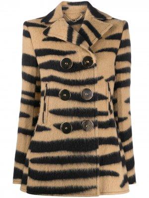 Двубортное пальто строгого кроя Paco Rabanne. Цвет: коричневый