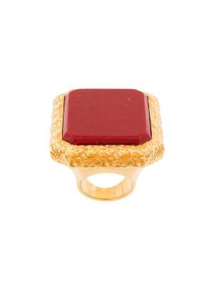 Крупное кольцо квадратной формы Balenciaga. Цвет: красный