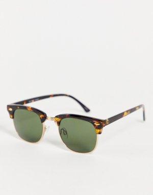 Коричневые солнцезащитные очки в стиле ретро -Коричневый цвет Selected Homme