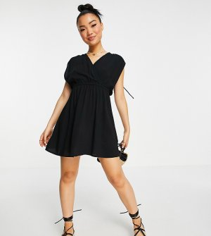 Черное пляжное платье мини из переработанных материалов со сборками Petite-Черный цвет ASOS DESIGN