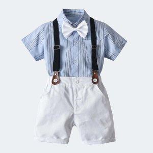 Шорты и рубашка в полоску с галстуком-бабочкой для мальчиков SHEIN. Цвет: синий и белый