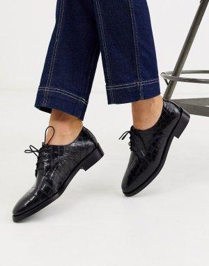 Черные кожаные броги с эффектом крокодиловой кожи -Черный & Other Stories
